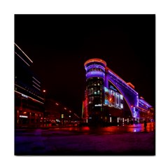 Moscow Night Lights Evening City Tile Coasters by Nexatart