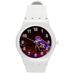 Moscow Night Lights Evening City Round Plastic Sport Watch (m)