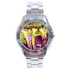 Yellow Magenta Abstract Fractal Stainless Steel Analogue Watch by Nexatart