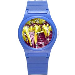 Yellow Magenta Abstract Fractal Round Plastic Sport Watch (s) by Nexatart