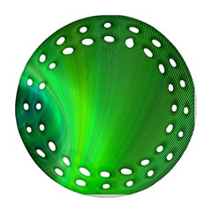 Green Background Abstract Color Round Filigree Ornament (two Sides) by Nexatart