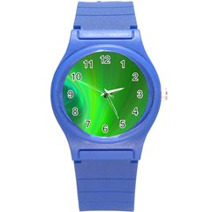 Green Background Abstract Color Round Plastic Sport Watch (s) by Nexatart