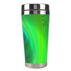 Green Background Abstract Color Stainless Steel Travel Tumblers by Nexatart