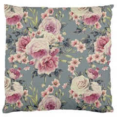 Pink Flower Seamless Design Floral Large Cushion Case (two Sides) by Nexatart