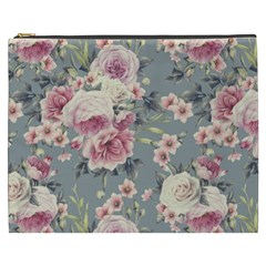 Pink Flower Seamless Design Floral Cosmetic Bag (xxxl)  by Nexatart