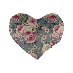 Pink Flower Seamless Design Floral Standard 16  Premium Flano Heart Shape Cushions by Nexatart