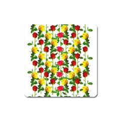 Rose Pattern Roses Background Image Square Magnet by Nexatart