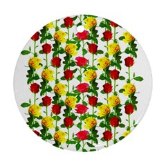 Rose Pattern Roses Background Image Round Ornament (two Sides) by Nexatart