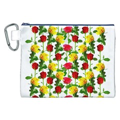 Rose Pattern Roses Background Image Canvas Cosmetic Bag (xxl) by Nexatart