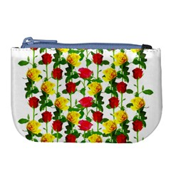 Rose Pattern Roses Background Image Large Coin Purse by Nexatart