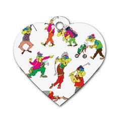 Golfers Athletes Dog Tag Heart (two Sides) by Nexatart