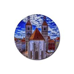 Steeple Church Building Sky Great Rubber Coaster (round)  by Nexatart