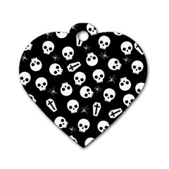 Skull, Spider And Chest    Halloween Pattern Dog Tag Heart (one Side) by Valentinaart