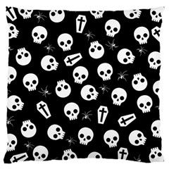 Skull, Spider And Chest    Halloween Pattern Large Cushion Case (one Side) by Valentinaart
