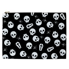 Skull, Spider And Chest    Halloween Pattern Cosmetic Bag (xxl)  by Valentinaart