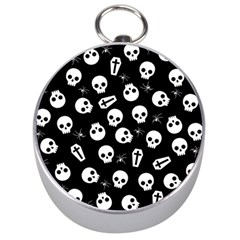 Skull, Spider And Chest    Halloween Pattern Silver Compasses by Valentinaart