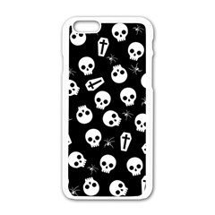 Skull, Spider And Chest    Halloween Pattern Apple Iphone 6/6s White Enamel Case by Valentinaart