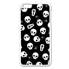 Skull, Spider And Chest    Halloween Pattern Apple Iphone 6 Plus/6s Plus Enamel White Case by Valentinaart
