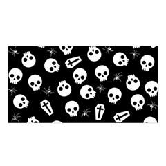 Skull, Spider And Chest    Halloween Pattern Satin Shawl by Valentinaart