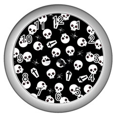 Skull, Spider And Chest    Halloween Pattern Wall Clocks (silver)  by Valentinaart