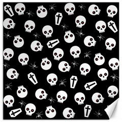 Skull, Spider And Chest    Halloween Pattern Canvas 20  X 20   by Valentinaart