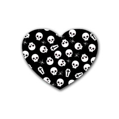 Skull, Spider And Chest    Halloween Pattern Rubber Coaster (heart)  by Valentinaart