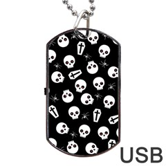 Skull, Spider And Chest    Halloween Pattern Dog Tag Usb Flash (one Side) by Valentinaart