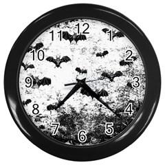 Vintage Halloween Bat Pattern Wall Clocks (black) by Valentinaart