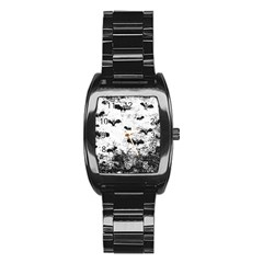 Vintage Halloween Bat Pattern Stainless Steel Barrel Watch by Valentinaart