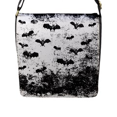 Vintage Halloween Bat Pattern Flap Messenger Bag (l)  by Valentinaart