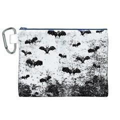 Vintage Halloween Bat Pattern Canvas Cosmetic Bag (xl) by Valentinaart