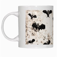 Vintage Halloween Bat Pattern White Mugs by Valentinaart