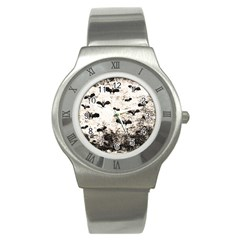 Vintage Halloween Bat Pattern Stainless Steel Watch by Valentinaart
