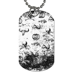 Vintage Halloween Pattern Dog Tag (two Sides) by Valentinaart