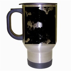 Vintage Halloween Bat Pattern Travel Mug (silver Gray) by Valentinaart