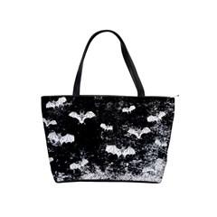 Vintage Halloween Bat Pattern Shoulder Handbags by Valentinaart