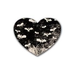 Vintage Halloween Bat Pattern Rubber Coaster (heart)  by Valentinaart