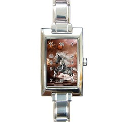 Steampunk, Awesome Steampunk Horse With Clocks And Gears In Silver Rectangle Italian Charm Watch by FantasyWorld7