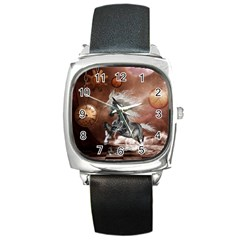 Steampunk, Awesome Steampunk Horse With Clocks And Gears In Silver Square Metal Watch by FantasyWorld7