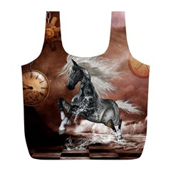 Steampunk, Awesome Steampunk Horse With Clocks And Gears In Silver Full Print Recycle Bags (l)  by FantasyWorld7