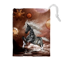 Steampunk, Awesome Steampunk Horse With Clocks And Gears In Silver Drawstring Pouches (extra Large) by FantasyWorld7