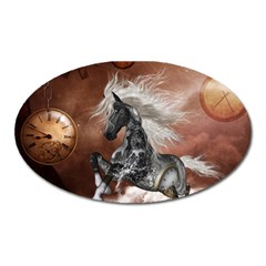 Steampunk, Awesome Steampunk Horse With Clocks And Gears In Silver Oval Magnet by FantasyWorld7