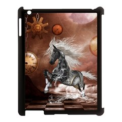 Steampunk, Awesome Steampunk Horse With Clocks And Gears In Silver Apple Ipad 3/4 Case (black) by FantasyWorld7