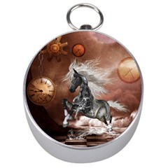 Steampunk, Awesome Steampunk Horse With Clocks And Gears In Silver Silver Compasses by FantasyWorld7
