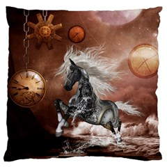 Steampunk, Awesome Steampunk Horse With Clocks And Gears In Silver Large Flano Cushion Case (two Sides) by FantasyWorld7