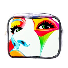 Colourful Art Face Mini Toiletries Bags by MaryIllustrations