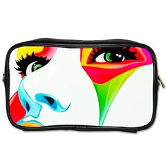 Colourful Art Face Toiletries Bags 2 Side by MaryIllustrations