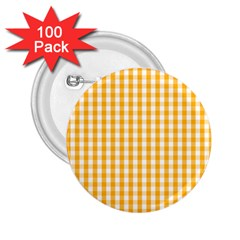 Pale Pumpkin Orange And White Halloween Gingham Check 2 25  Buttons (100 Pack)  by PodArtist