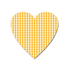 Pale Pumpkin Orange And White Halloween Gingham Check Heart Magnet by PodArtist