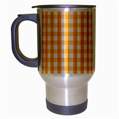 Pale Pumpkin Orange And White Halloween Gingham Check Travel Mug (silver Gray) by PodArtist